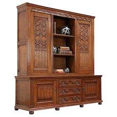 Dutch Gothic Carved Oak Antique Oak Bookcase or China Cabinet #30019