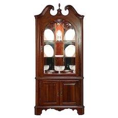 Traditional Cherry Vintage Corner Cabinet or Cupboard, Signed Jasper #30023