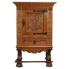 """Carved Oak Scandinavian Antique 33"""" China or Library Cabinet #30029"""