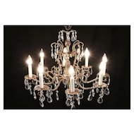 Chandelier, Vintage 8 Candles, Embossed Dark Brass, Cut Prisms #30036