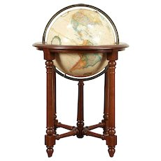Globe of the World, Vintage Oak Stand, Signed Replogle and Ethan Allen #30040