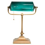 Emerald Green Cased Glass Antique Banker Adjustable Desk Lamp #30046