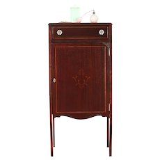Music Cabinet,1900 Mahogany Antique with Inlaid Banding #30048