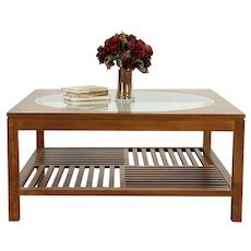 Stickley Signed Cherry & Glass Vintage Square Coffee Table, Dated 2001 #30054