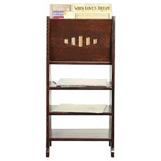 Arts & Crafts Mission Oak Antique Craftsman Bookshelf & Magazine Rack #30059