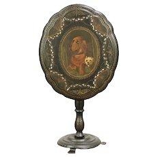 Victorian Papier Mache Antique Tilt Top Tea Table, Dog Painting #30062