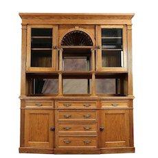 Oak Antique Back Bar, China Cabinet, Sideboard, Beveled Glass & Mirrors #30064