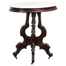 Victorian Oval Antique Walnut Lamp or Parlor Table, Marble Top #30066