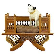Carved Teak Indian Dog or Cat Pet Bed, New Upholstered Cushion #30067