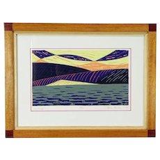 Kettle Moraine WI Landscape Serigraph, Custom Frame, Signed 1994 Bodden #30074