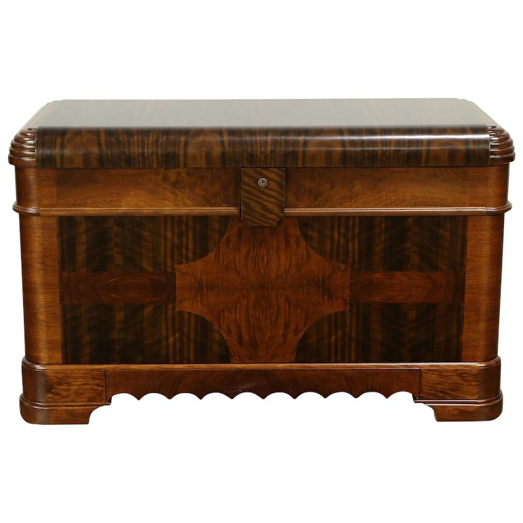 Art deco period furniture Contemporary Art Deco Waterfall 1935 Vintage Cedar Trunk Or Blanket Chest Caswell Harp Gallery Antique Furniture Ruby Lane Decolish Art Deco Waterfall 1935 Vintage Cedar Trunk Or Blanket Chest