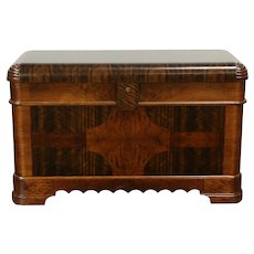Art Deco Waterfall 1935 Vintage Cedar Trunk or Blanket Chest, Caswell  #30076