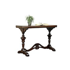 Renaissance Carved Antique Mahogany Hall Console or Sofa Table #30080