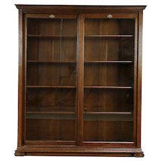 Oak Quarter Sawn Antique Library Bookcase, Sliding Glass Doors #30081