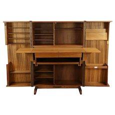 Midcentury Modern 1960 Vintage Mahogany Scandinavian Cabinet Desk #30082