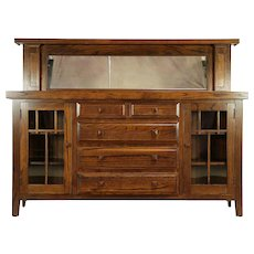 Arts & Crafts Mission Oak Antique Craftsman Sideboard, Gallery & Mirror #30083