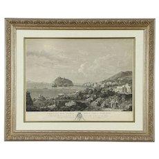 Port of Ischia, Italy Antique 1820 Engraving, New Custom Frame #30085