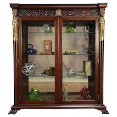 Mahogany Antique Library Bookcase Display Cabinet, Carved Figures #30086