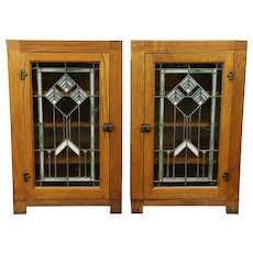 Pair Oak Antique Architectural Salvage Bookcases, Leaded Stained Glass #30087