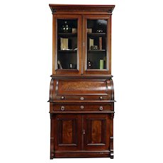 Victorian Antique Walnut Cylinder Roll Top Secretary Desk & Bookcase #30091