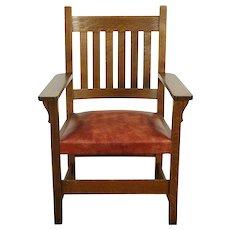 Arts & Crafts Mission Oak Antique Craftsman Chair, Leather Seat #30092