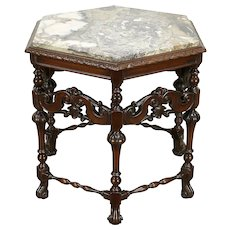 English Tudor Hexagonal Carved 1920 Antique Lamp Table, Marble Top #30093