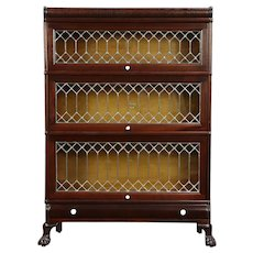 Macey Mahogany Antique 3 Stack Bookcase, Leaded Glass Doors #30098