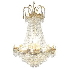 Regency Style Vintage Chandelier, Cut Crystal Prisms #30101