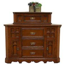 Oak & Pine Antique 1880 Corner Cabinet or Cupboard #30108