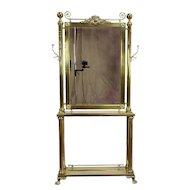 Victorian Brass Antique Hall Stand, Dressing Mirror or Bar Original Hooks #30113