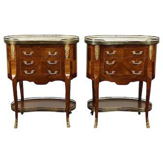 Pair Italian Vintage Kidney Shape End Tables or Nightstands, Marble Tops #30116