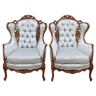 Pair Vintage Wing Chairs Carved Love Birds & Angels, New Upholstery #30146