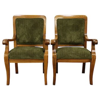 Pair Oak Antique Library Chairs, New Upholstery, Heywood Wakefield #30151