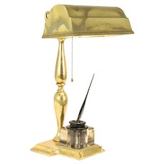 Brass Antique Adjustable Desk Lamp & Sengbusch Inkwell Pat 1907 #30154