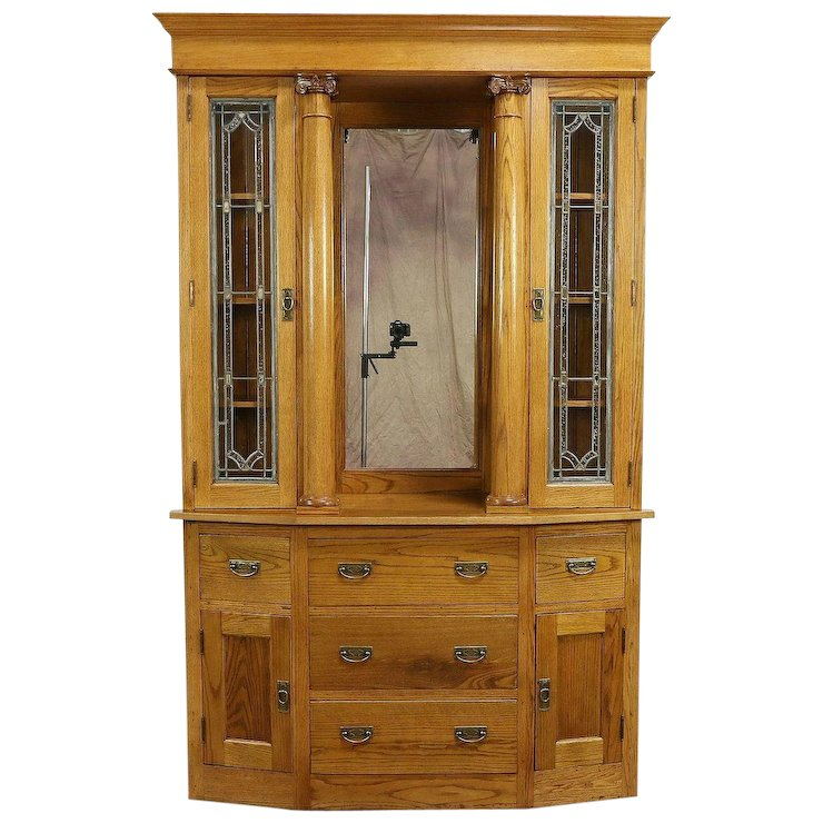 Oak Antique Sideboard, China Cabinet or Bookcase, Stained Glass Doors :  Harp Gallery Antique Furniture | Ruby Lane - Oak Antique Sideboard, China Cabinet Or Bookcase, Stained Glass