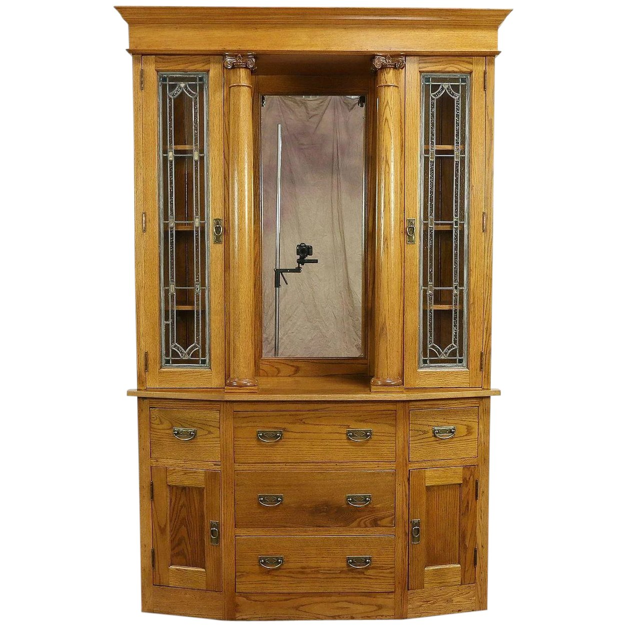 Oak Antique Sideboard China Cabinet Or Bookcase Stained Glass Doors 30155