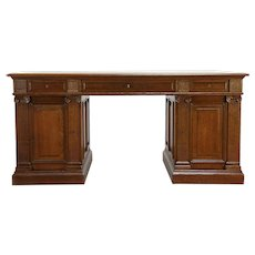 Classical Antique 1910 Carved Oak Scandinavian Library Desk #30156