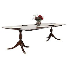 Traditional Banded Mahogany 10' Dining Table, 3 Leaves, Henkel Harris #30160
