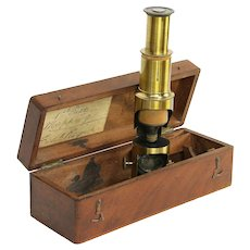 English Antique Brass Microscope, Inscription Wapping, Mahogany Case #30193
