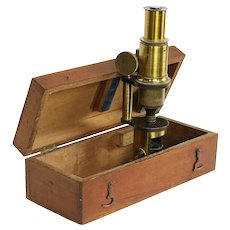 English Antique Brass Microscope, Mahogany Case #30194