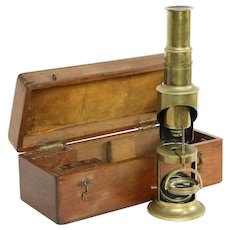 English Antique Brass Microscope, Swivel Lens, Mahogany Case #30195