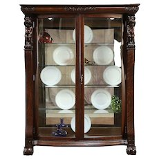 Oak Antique Curved Glass China Curio Display Cabinet, Angels or Cherubs #30208