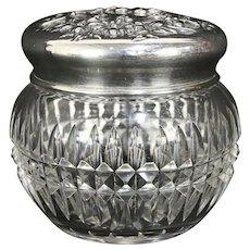 Victorian Antique Cut Glass Boudoir Jar, Sterling Silver Lid #30223