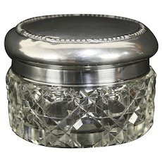 Victorian Antique 1900 Cut Crystal Boudoir Jar, Sterling Silver Lid #30225