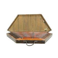 Hammered Dulcimer Antique Folk Musical Instrument & Wood Case #30236