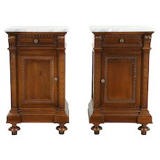Pair of Italian Antique Marble Top Carved Walnut Nightstands #30239