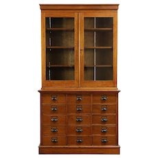 Country Pine Antique 15 Drawer File Cabinet & Bookcase or Pantry Cupboard #30240
