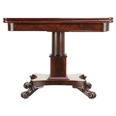 Empire Antique 1830 Mahogany Console Opens to Game Table #30255