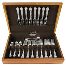 Chantilly Gorham Sterling Silver 32 pc Set for 8, Mono, Chest #30272