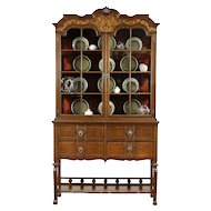 English Carved Oak Marquetry Antique China Curio Display Cabinet #30273